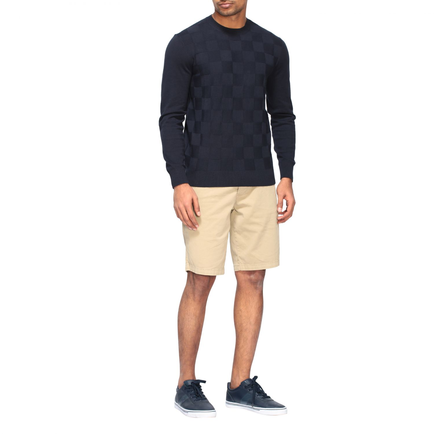 Sweater Armani Exchange: Armani Exchange crew neck sweater with checked pattern blue 2