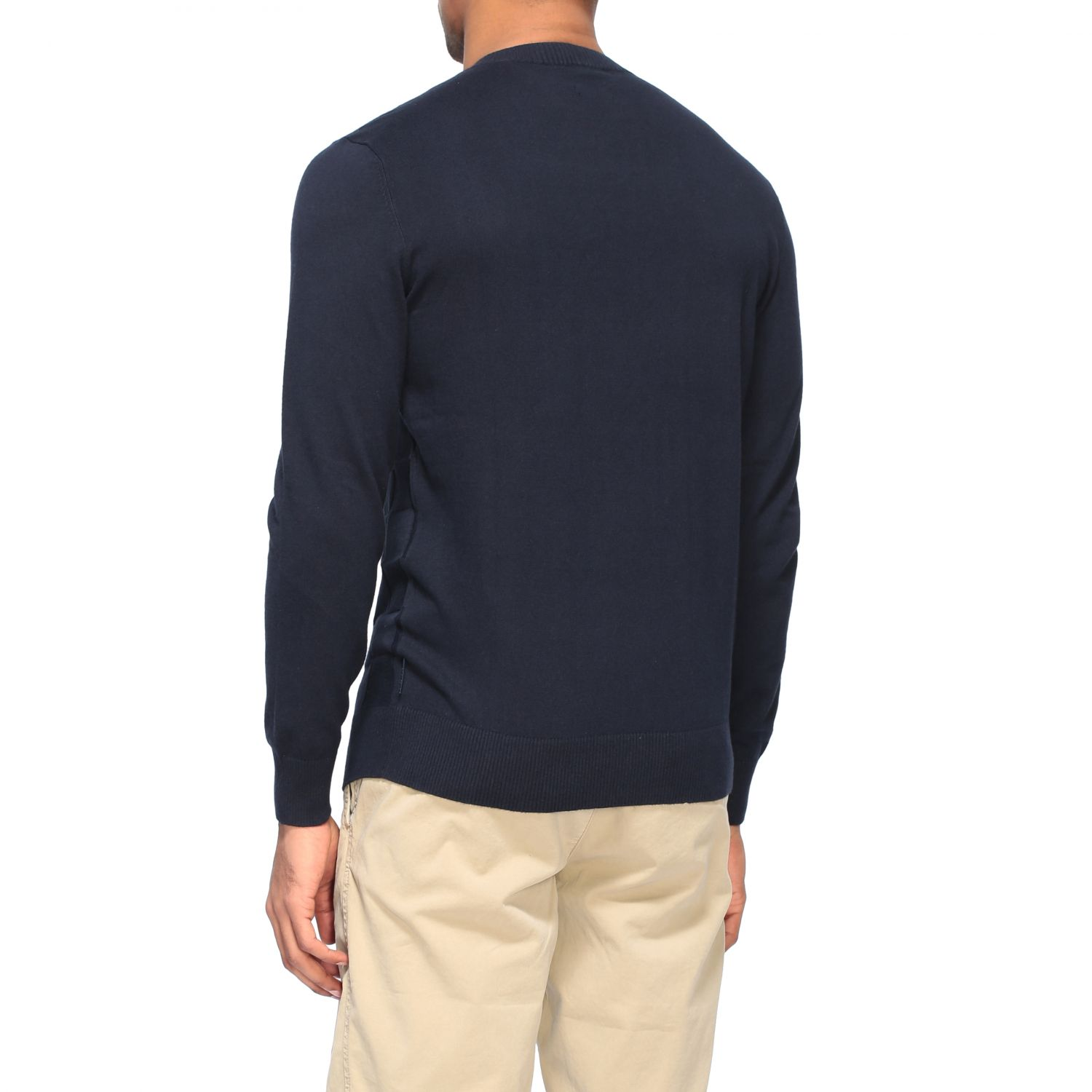 Sweater Armani Exchange: Armani Exchange crew neck sweater with checked pattern blue 3