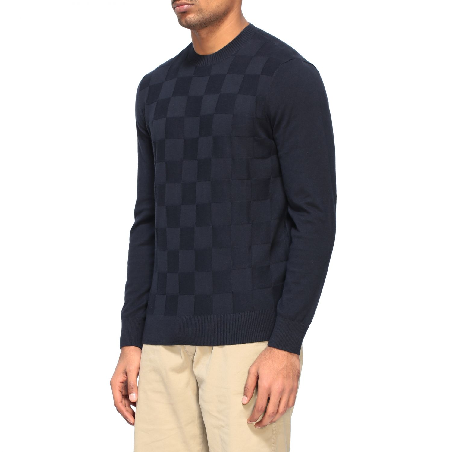 Sweater Armani Exchange: Armani Exchange crew neck sweater with checked pattern blue 4