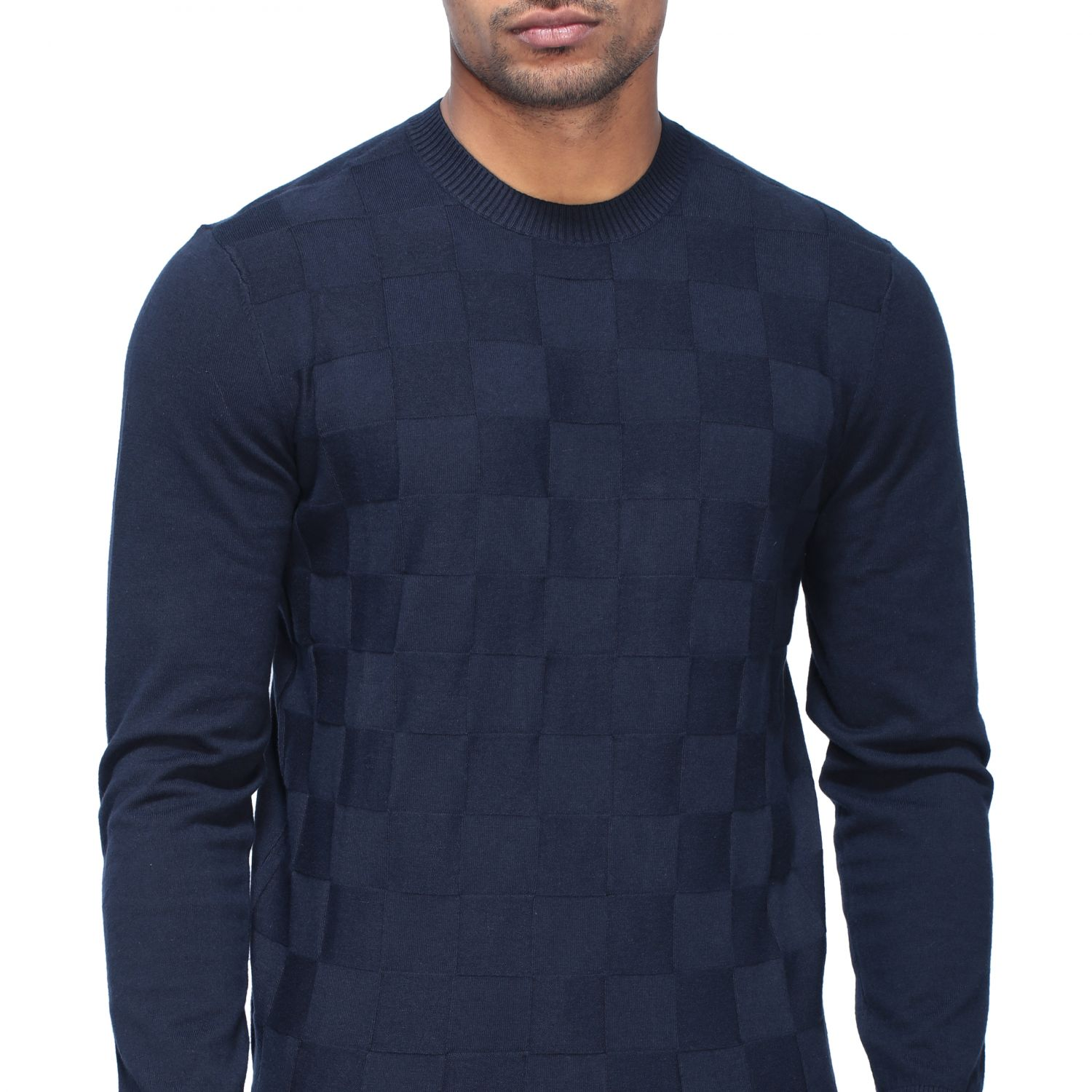 Sweater Armani Exchange: Armani Exchange crew neck sweater with checked pattern blue 5