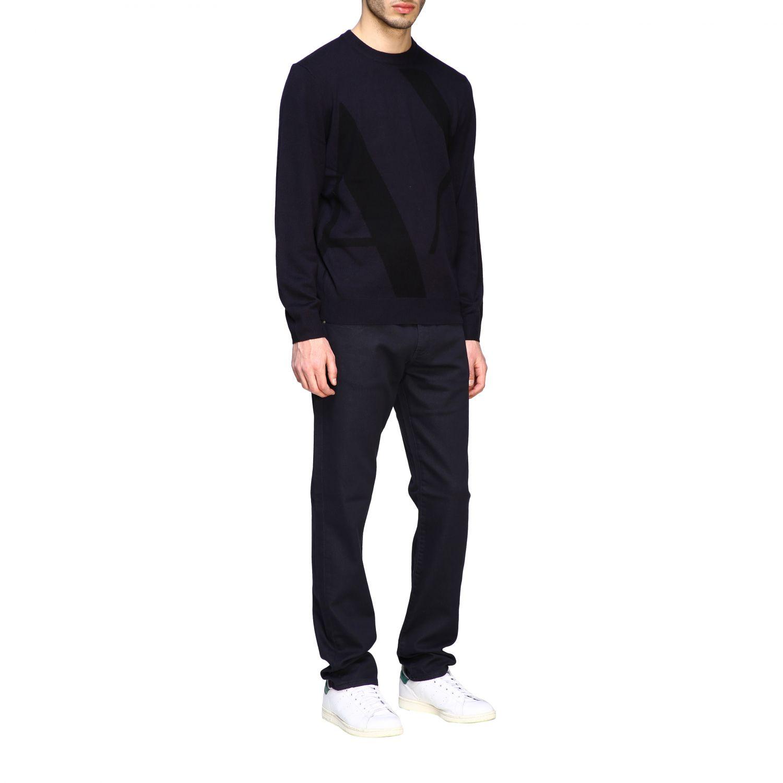 Sweater Armani Exchange: Armani Exchange crew neck sweater with big logo blue 2