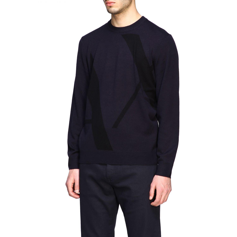 Sweater Armani Exchange: Armani Exchange crew neck sweater with big logo blue 4