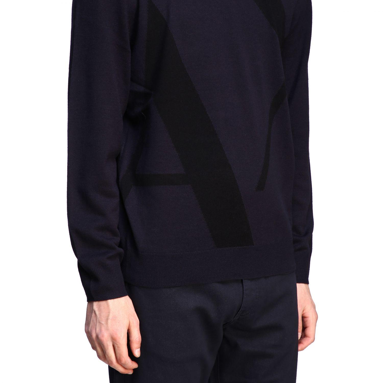 Sweater Armani Exchange: Armani Exchange crew neck sweater with big logo blue 5