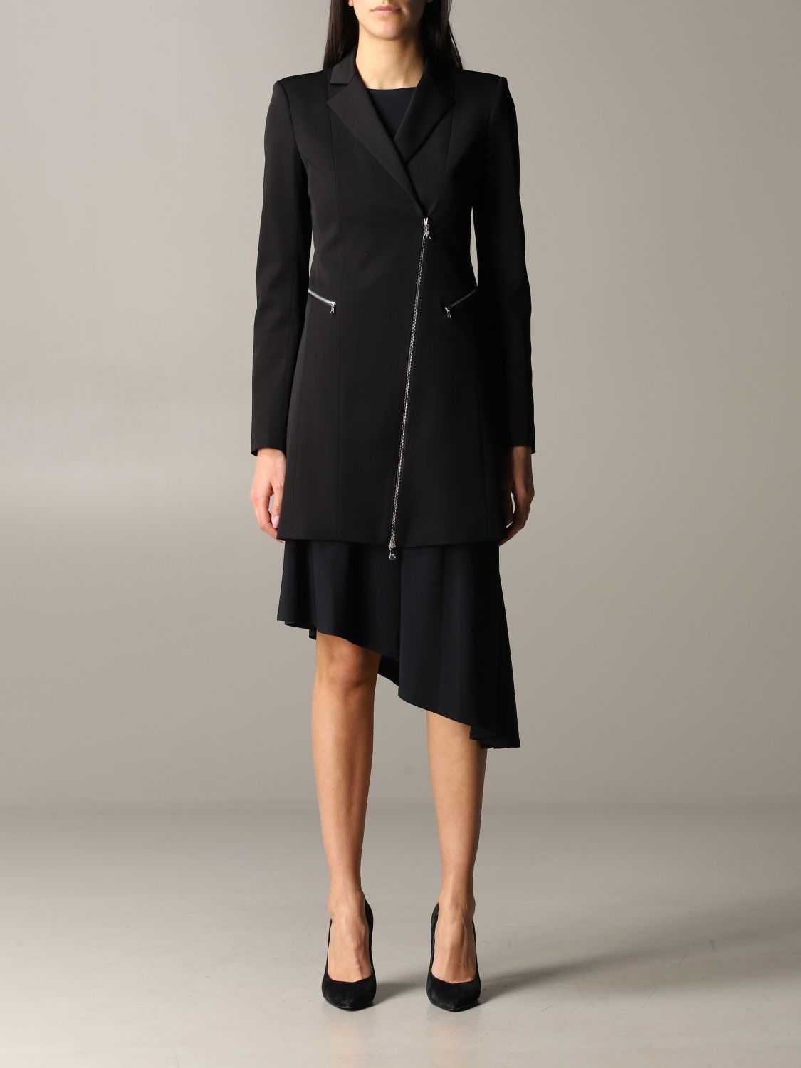 Patrizia Pepe long jacket in viscose stretching with zip black 1