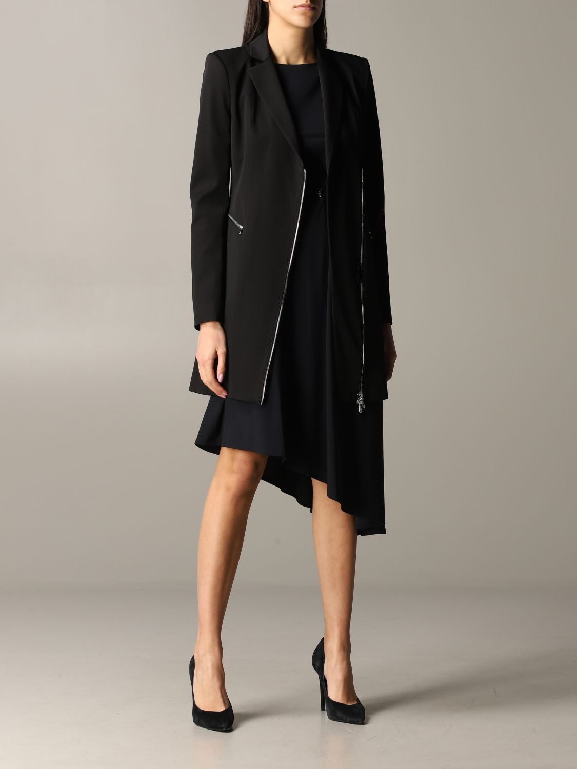 Patrizia Pepe long jacket in viscose stretching with zip black 2