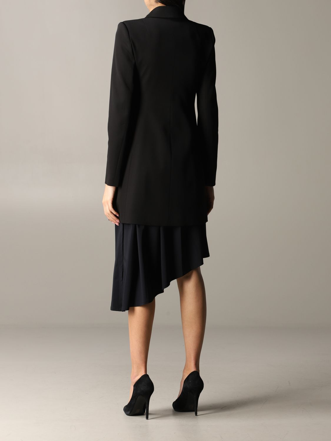 Patrizia Pepe long jacket in viscose stretching with zip black 3