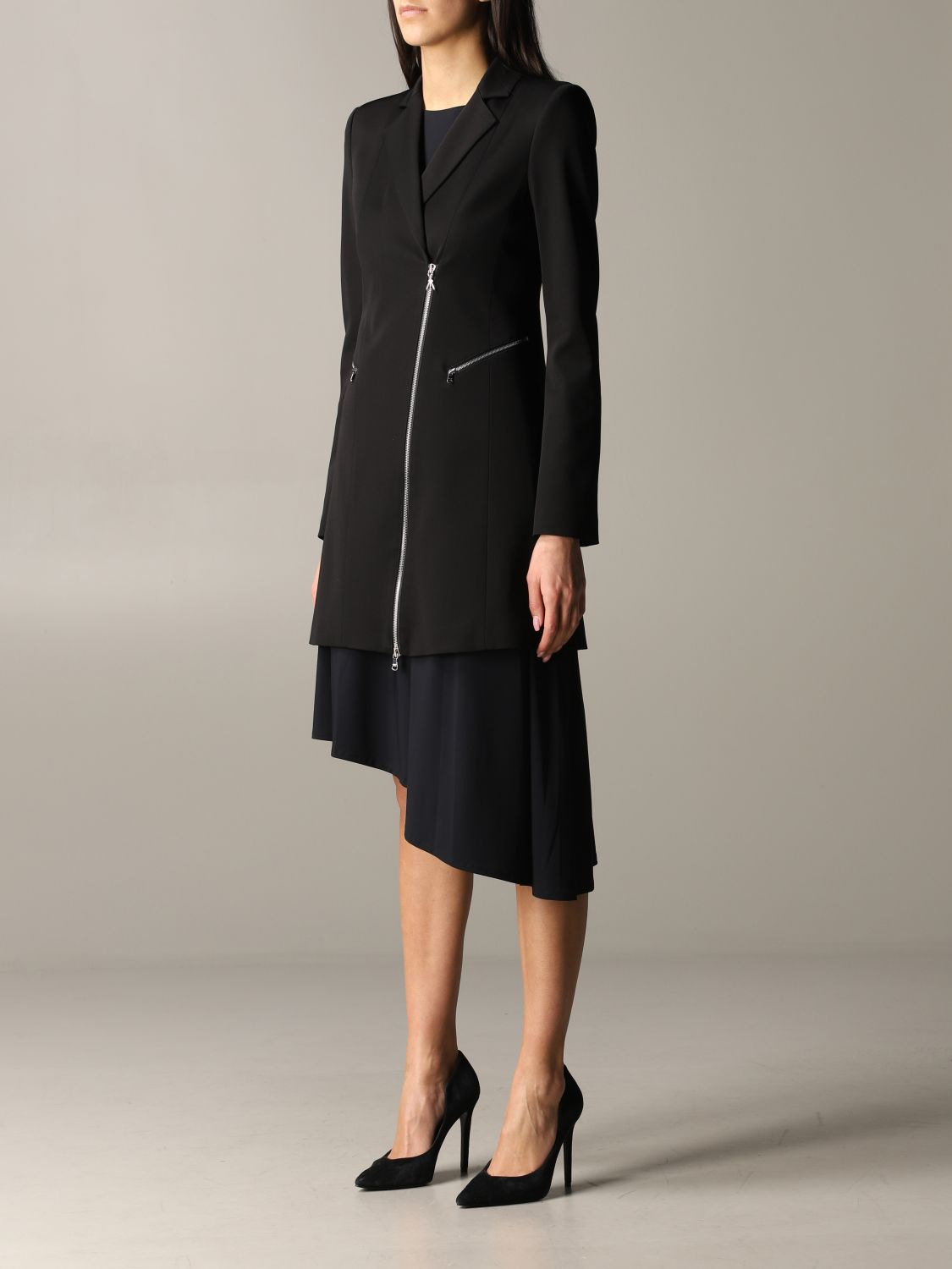 Patrizia Pepe long jacket in viscose stretching with zip black 4