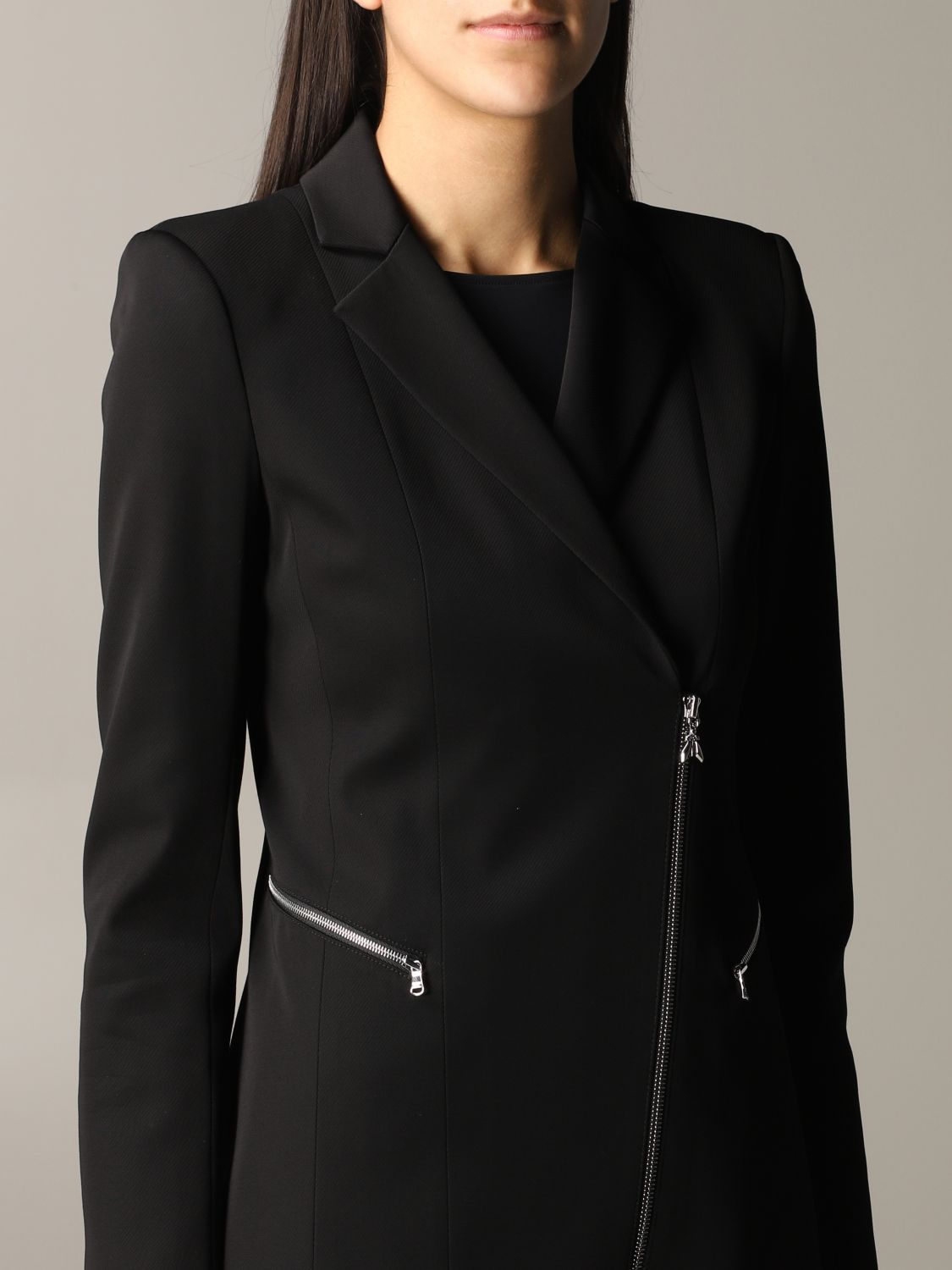 Patrizia Pepe long jacket in viscose stretching with zip black 5