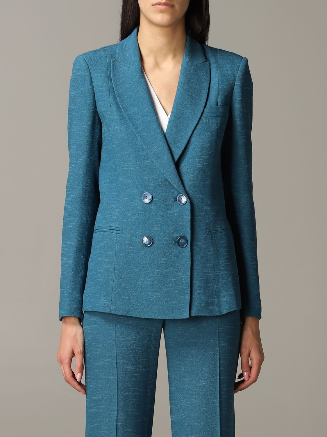 Patrizia Pepe double-breasted jacket teal 1