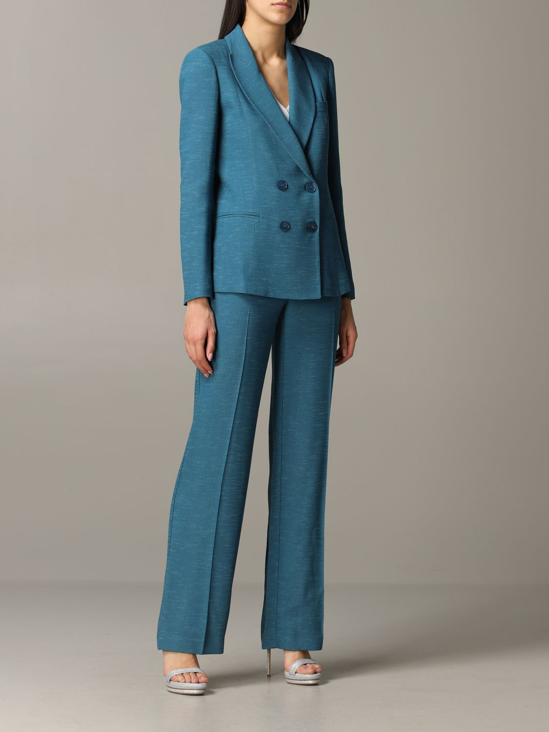 Patrizia Pepe double-breasted jacket teal 2
