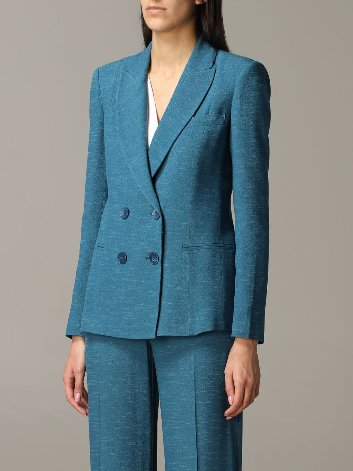Patrizia Pepe double-breasted jacket teal 4
