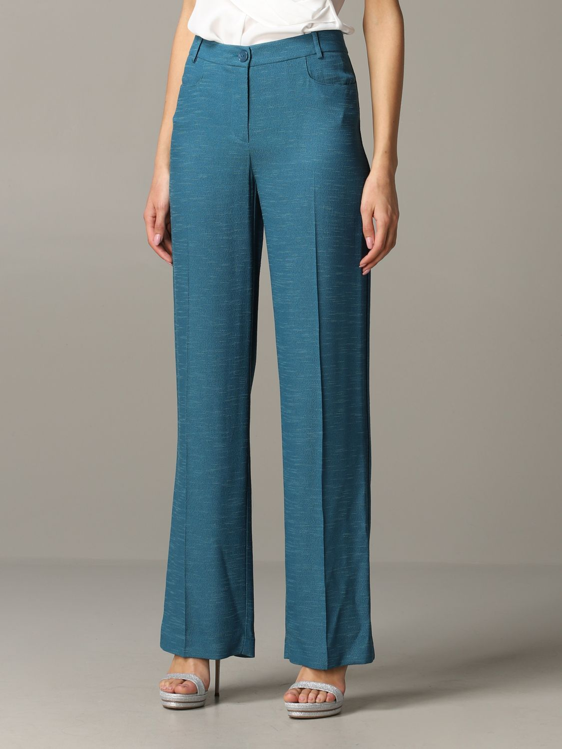 Patrizia Pepe wide trousers teal 4