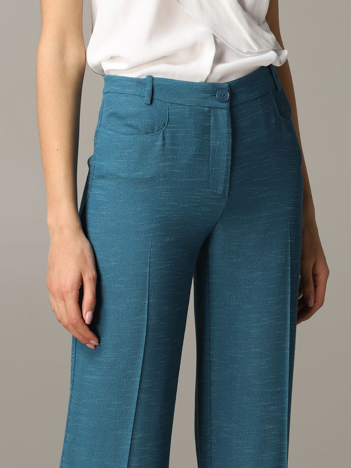 Patrizia Pepe wide trousers teal 5