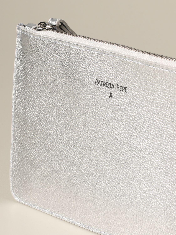 Patrizia Pepe clutch in laminated leather silver 3