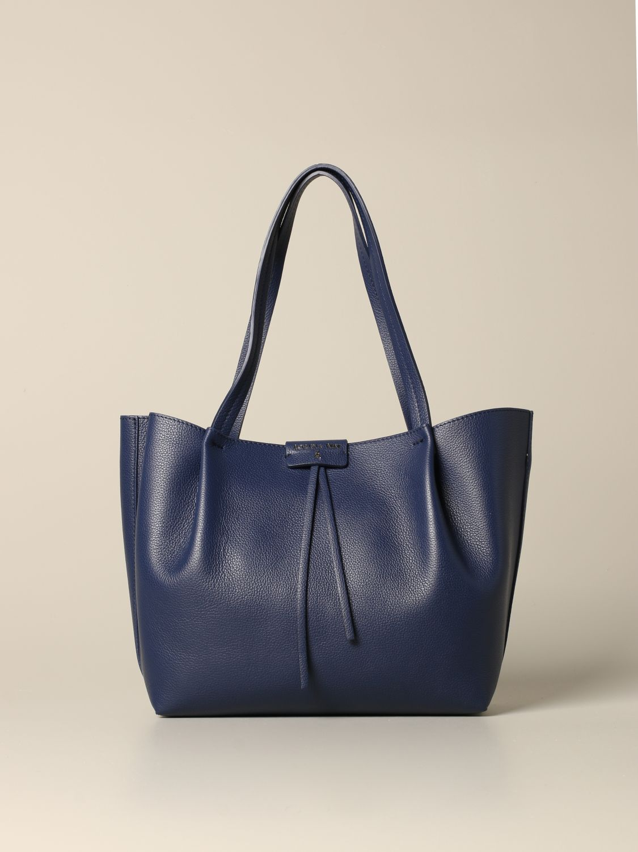 Patrizia Pepe Shopper aus strukturiertem Leder blau 1