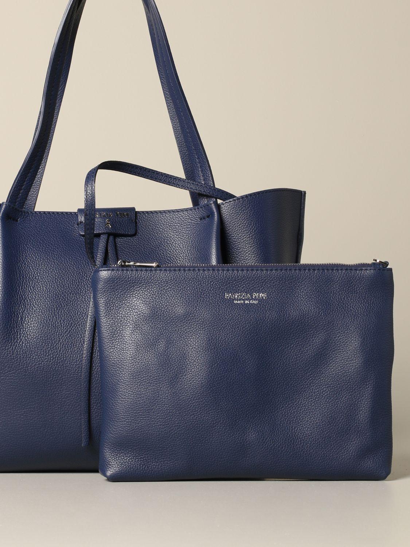 Patrizia Pepe Shopper aus strukturiertem Leder blau 3
