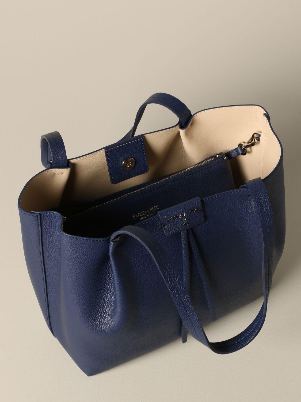 Patrizia Pepe Shopper aus strukturiertem Leder blau 4