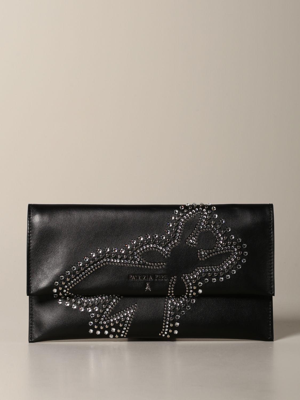 Patrizia Pepe leather clutch with rhinestone logo black 1