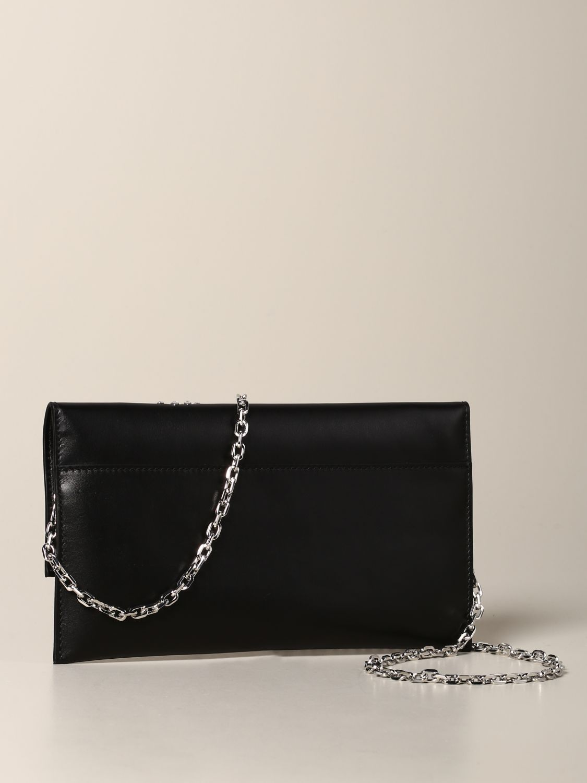 Patrizia Pepe leather clutch with rhinestone logo black 2