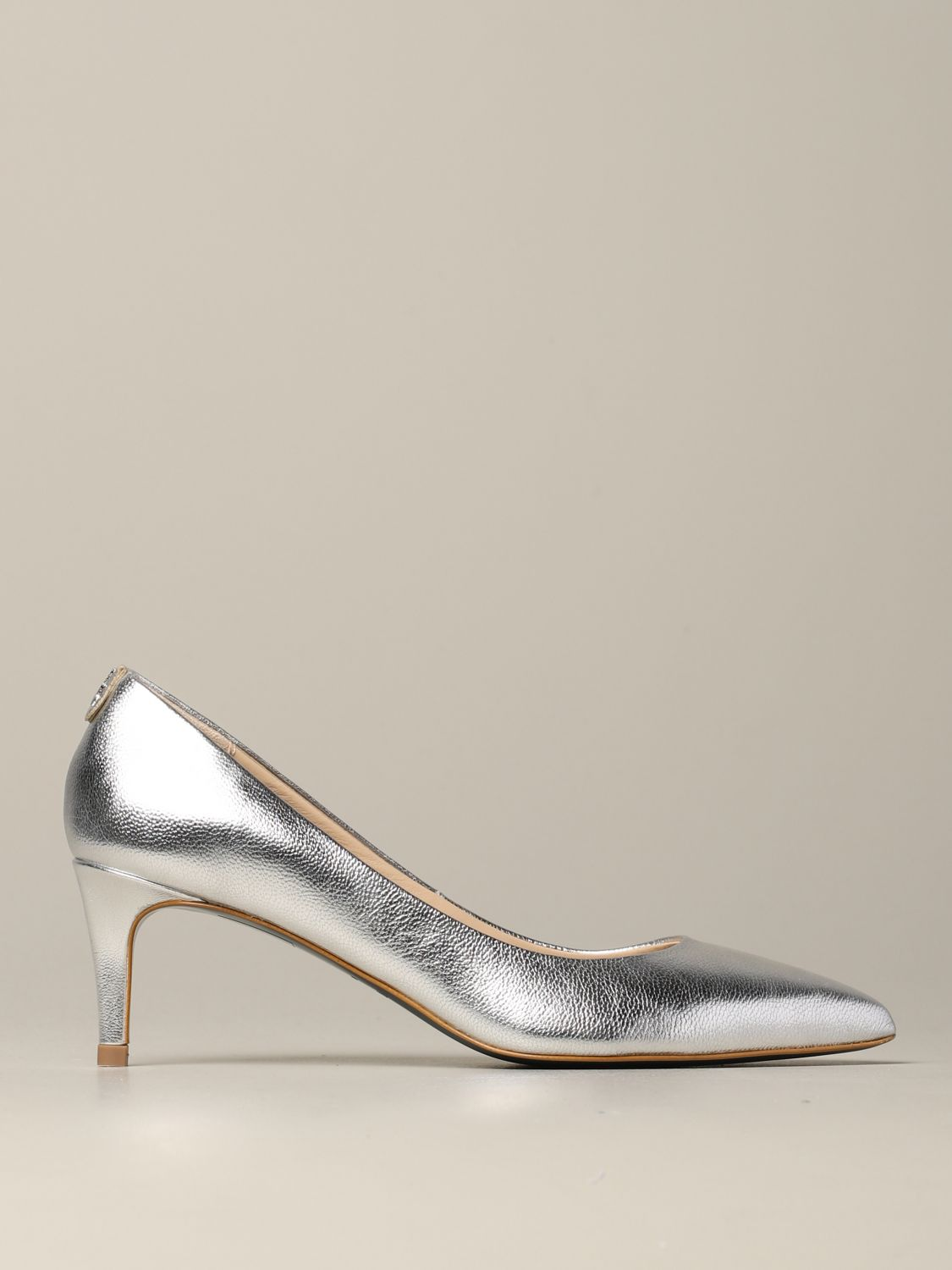 Patrizia Pepe pumps in laminated leather silver 1