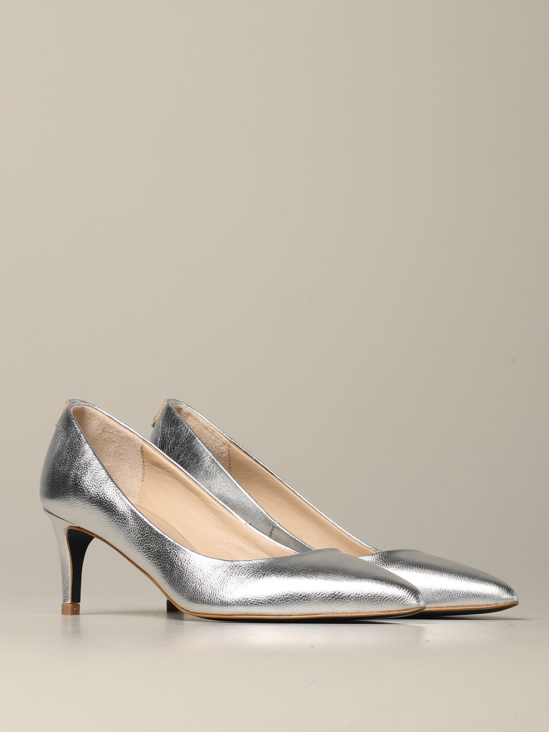 Patrizia Pepe pumps in laminated leather silver 2