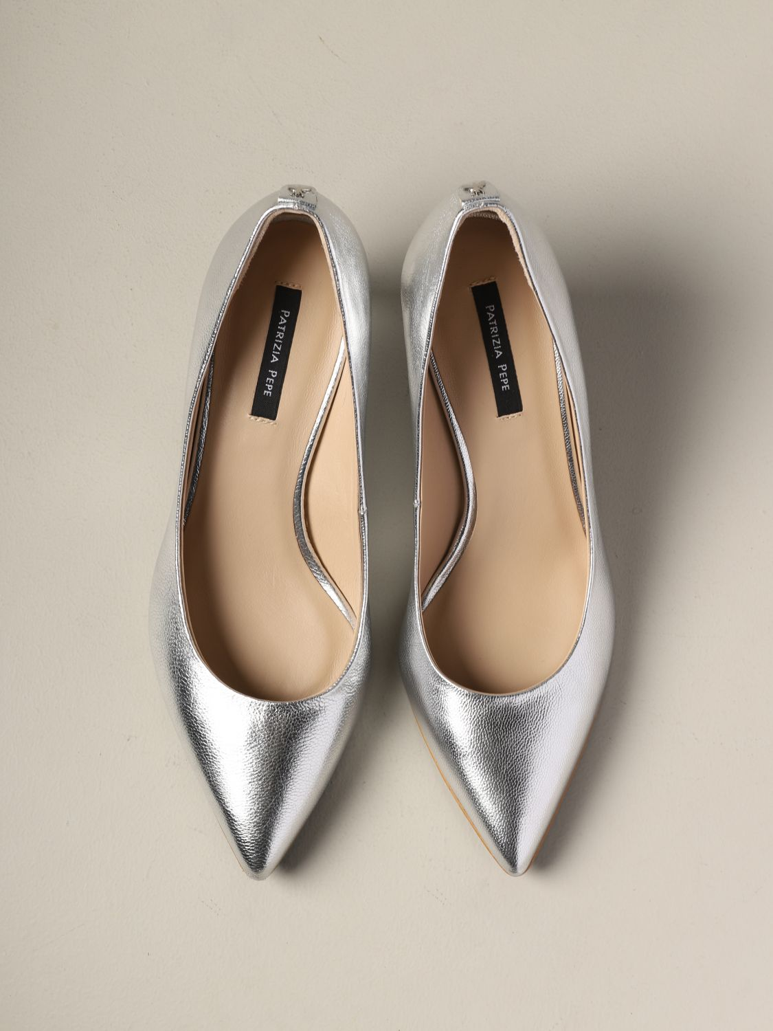 Patrizia Pepe pumps in laminated leather silver 3