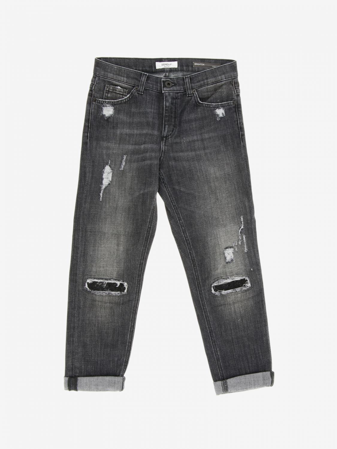 Jeans Dondup: Jeans Brighton Dondup carrots fit con rotture nero 1