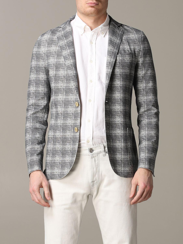 Blazer Eleventy: Eleventy Jacke aus Tartan-Jersey grau 1