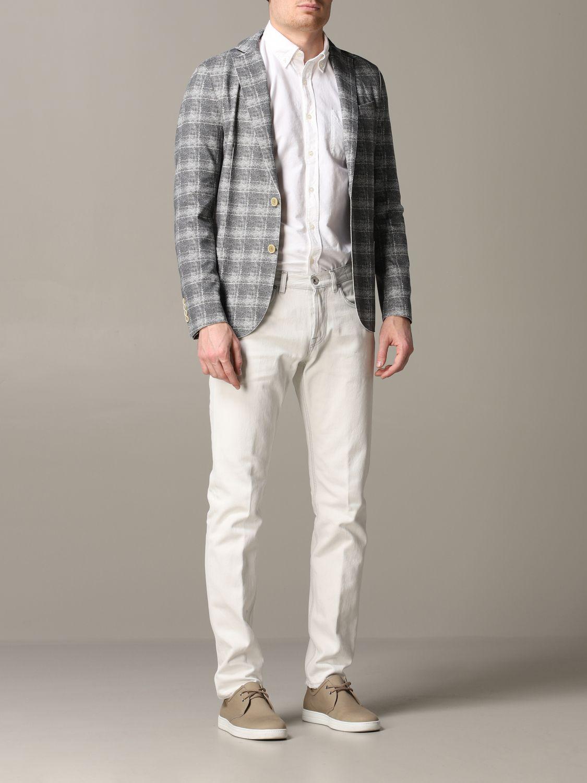 Blazer Eleventy: Eleventy Jacke aus Tartan-Jersey grau 2