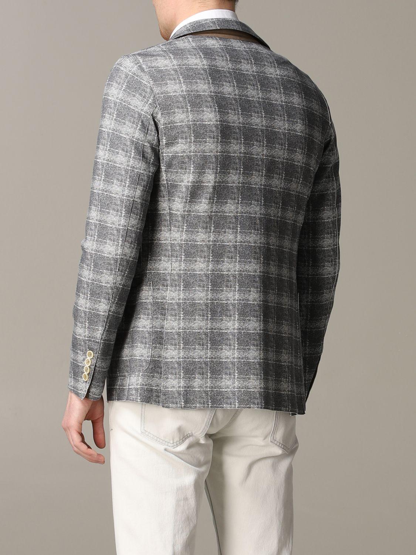 Blazer Eleventy: Eleventy Jacke aus Tartan-Jersey grau 3