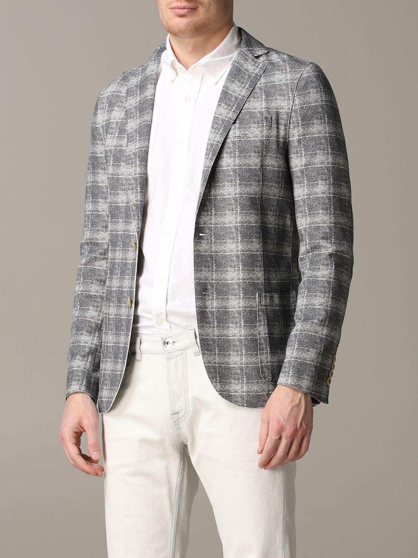 Blazer Eleventy: Eleventy Jacke aus Tartan-Jersey grau 4