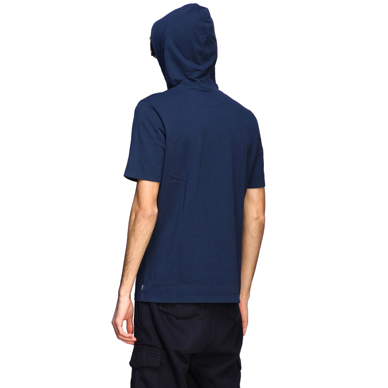T-shirt Eleventy: Eleventy short-sleeved T-shirt with hood blue 3