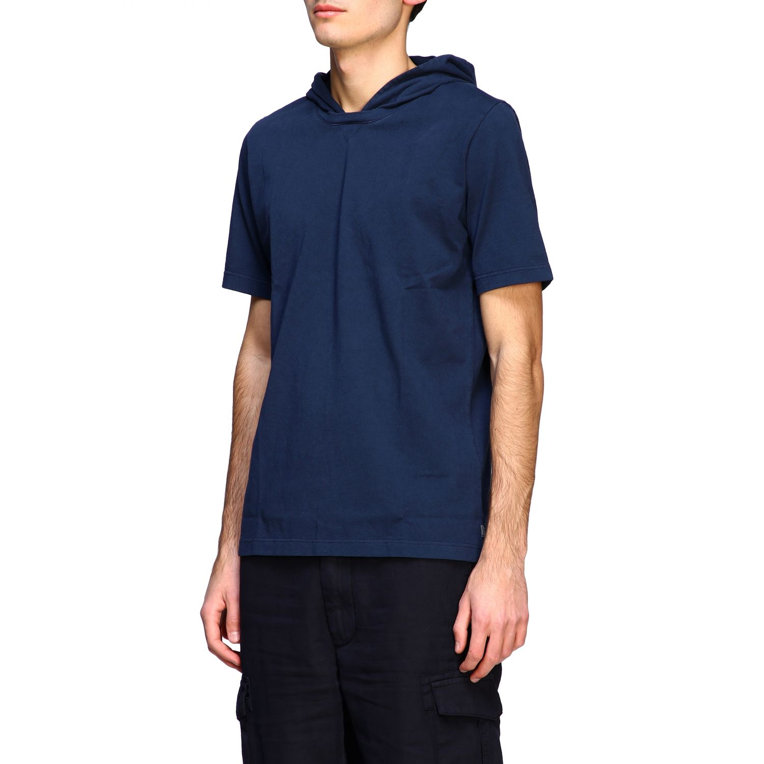 T-shirt Eleventy: Eleventy short-sleeved T-shirt with hood blue 4
