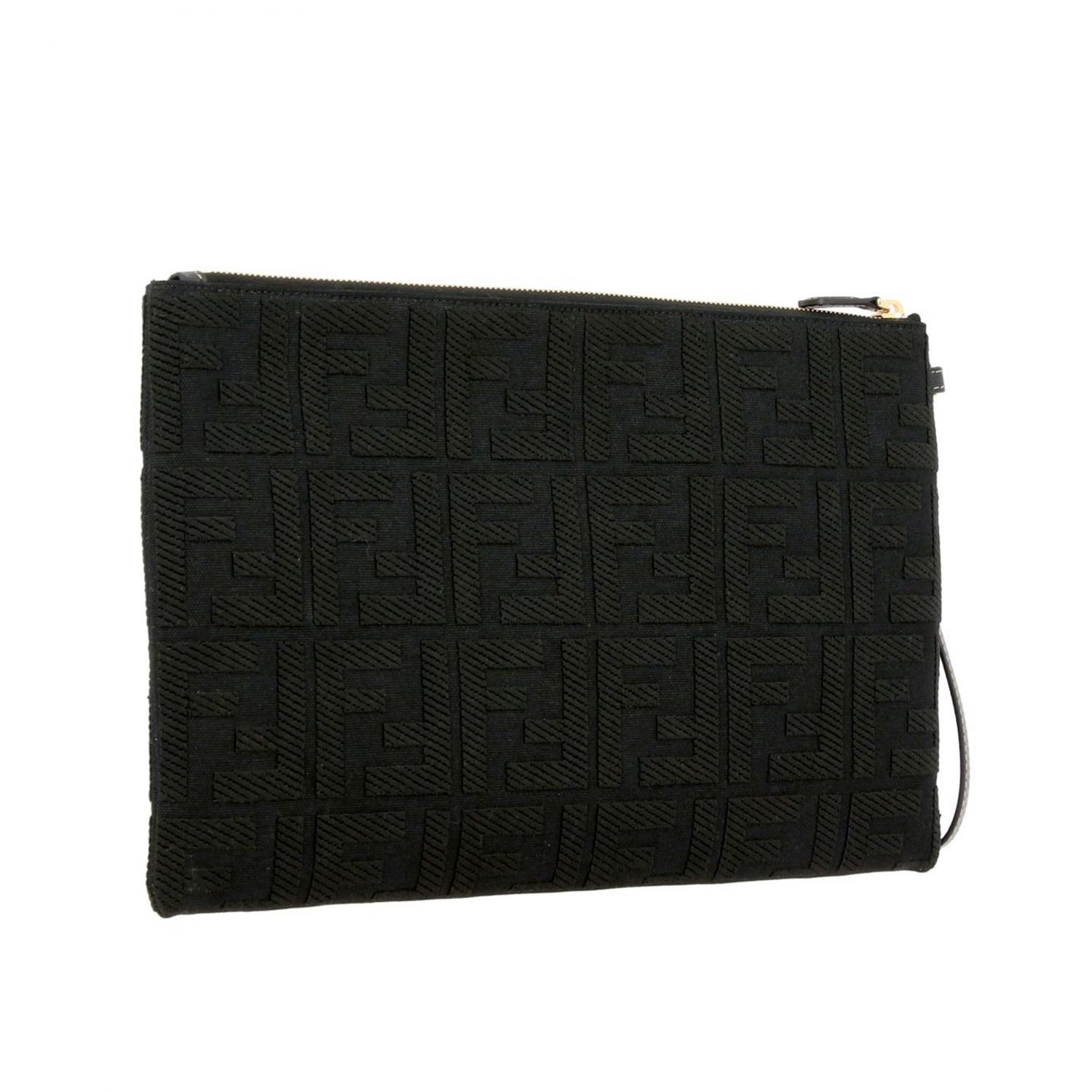Fendi Clutch aus Canvas mit FF Monogramm