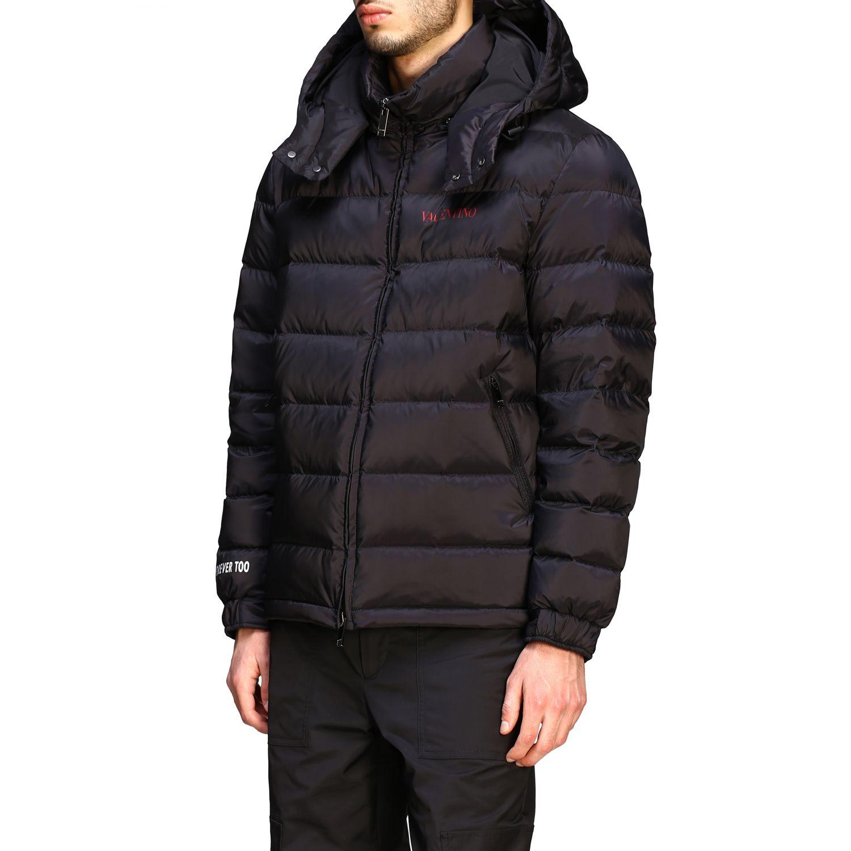 Куртка Valentino: Куртка со съемным капюшоном и логотипом Мужское Valentino черный 4