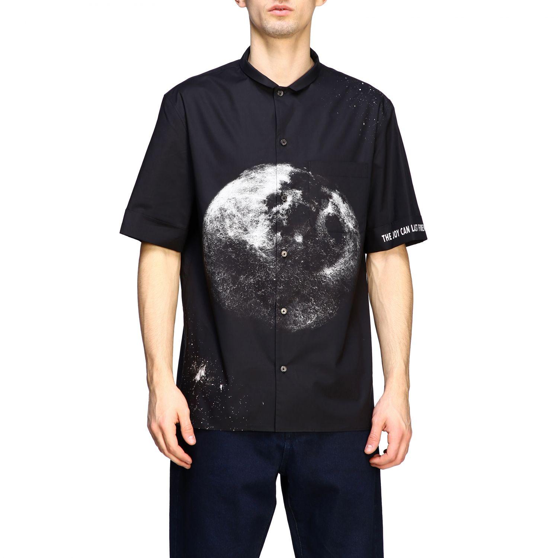 Chemise Valentino: Chemise en coton Valentino avec imprimé moon noir 1
