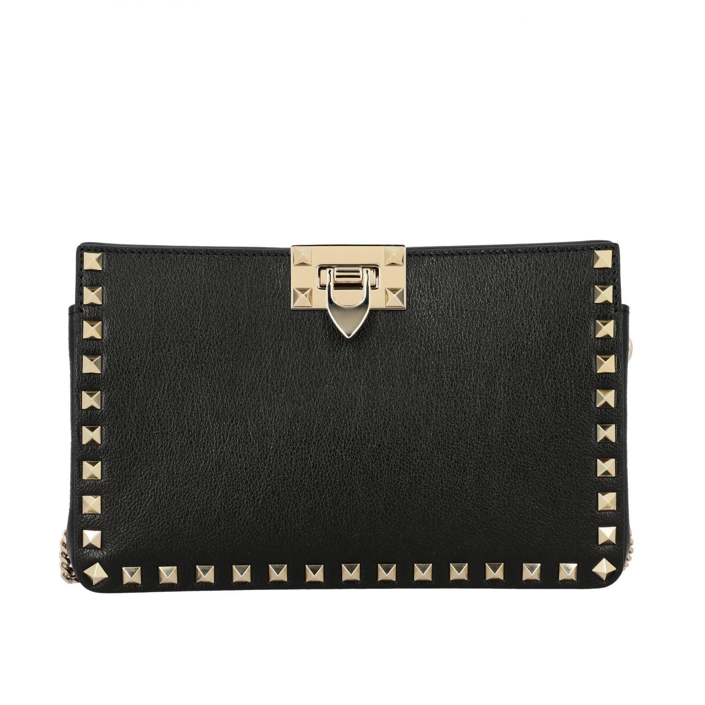 Valentino Garavani Rockstud leather clutch black 1