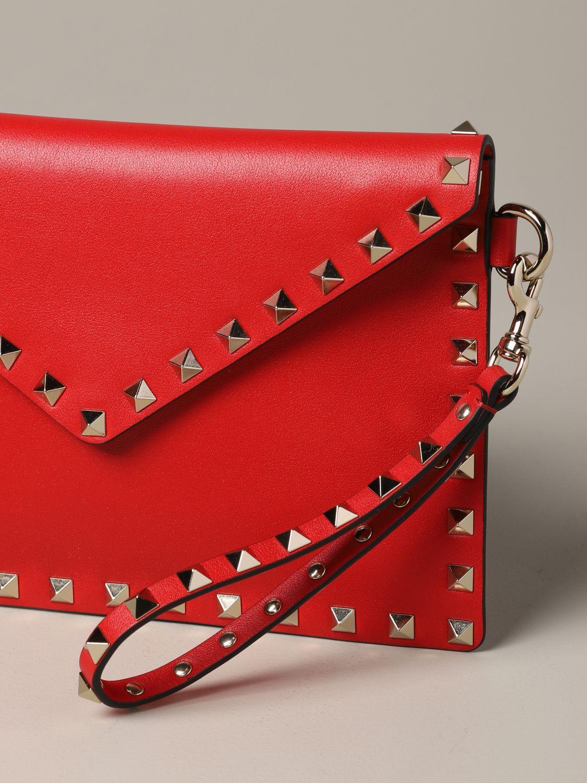 Valentino Garavani leather clutch bag with studs red 4