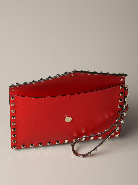 Valentino Garavani leather clutch bag with studs red 5