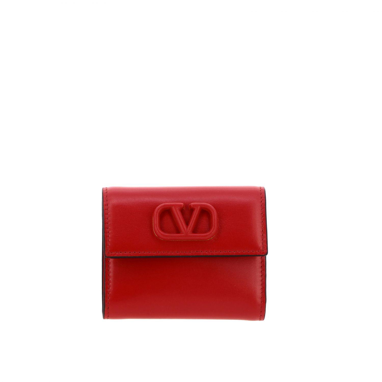 Portafoglio Valentino Garavani mini con VLogo rosso 1