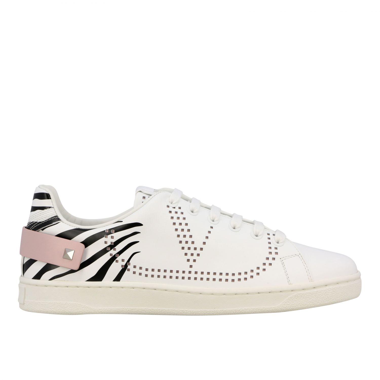 Sneakers Backnet Valentino Garavani in pelle con stampa zebrata bianco 1