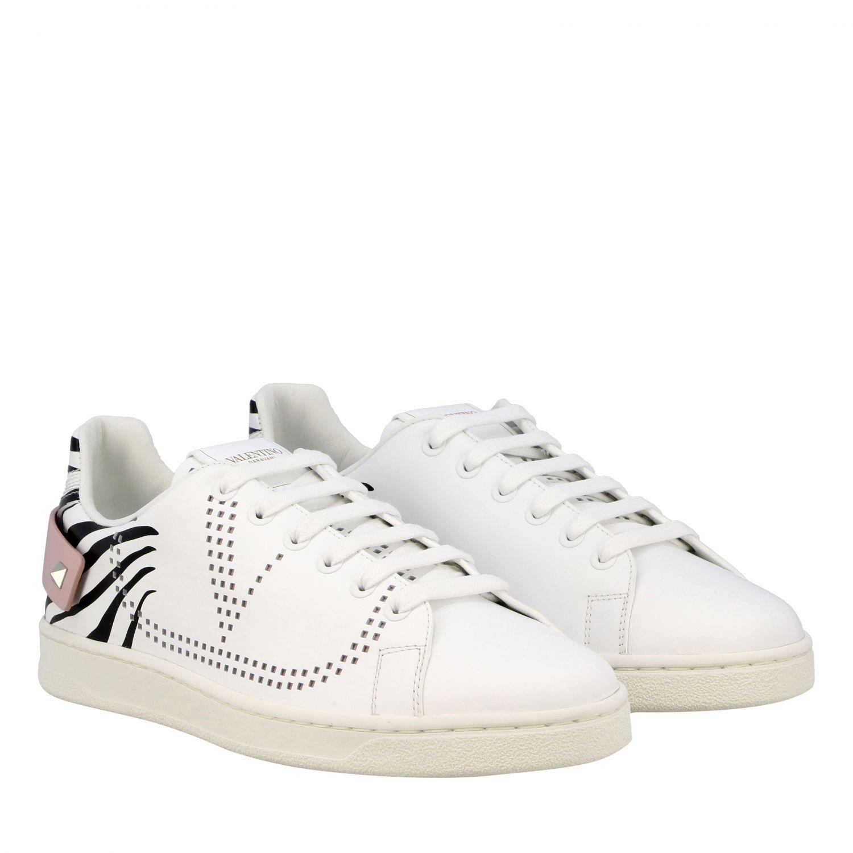 Sneakers Backnet Valentino Garavani in pelle con stampa zebrata bianco 2