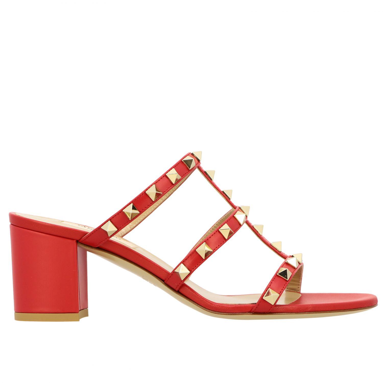Sandalo Rockstud Valentino Garavani in pelle rosso 1