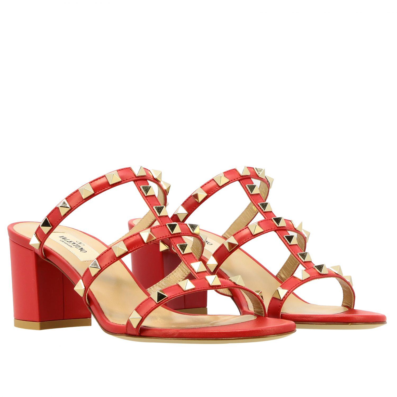 Sandalo Rockstud Valentino Garavani in pelle rosso 2