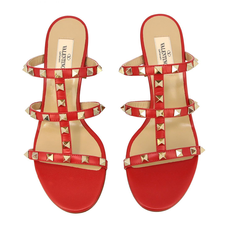 Sandalo Rockstud Valentino Garavani in pelle rosso 3