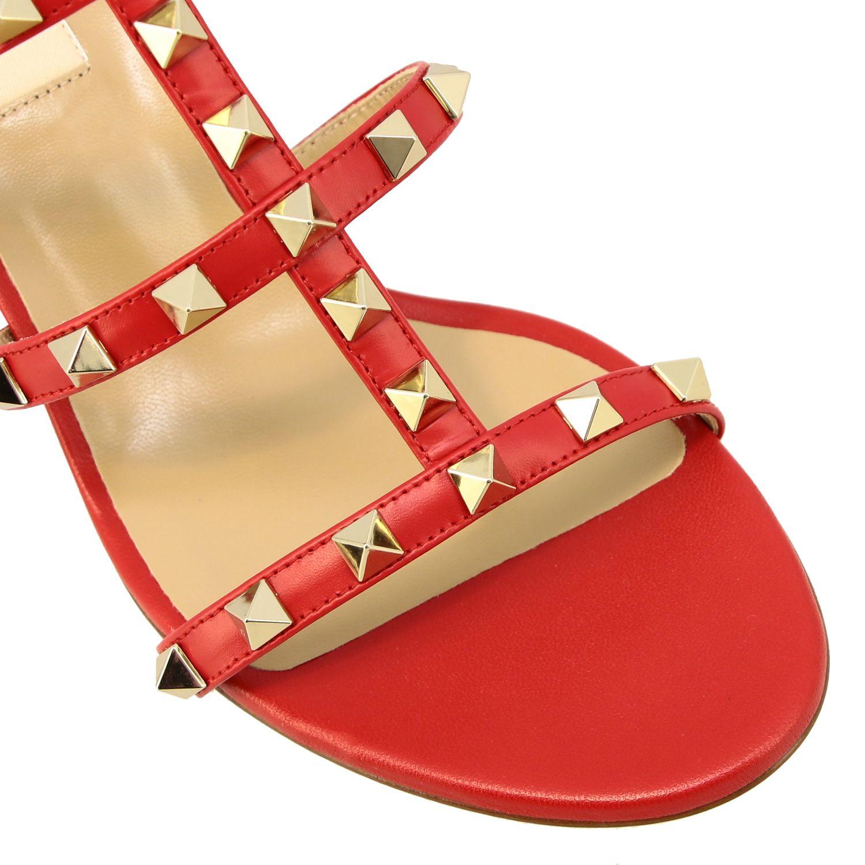 Sandalo Rockstud Valentino Garavani in pelle rosso 4
