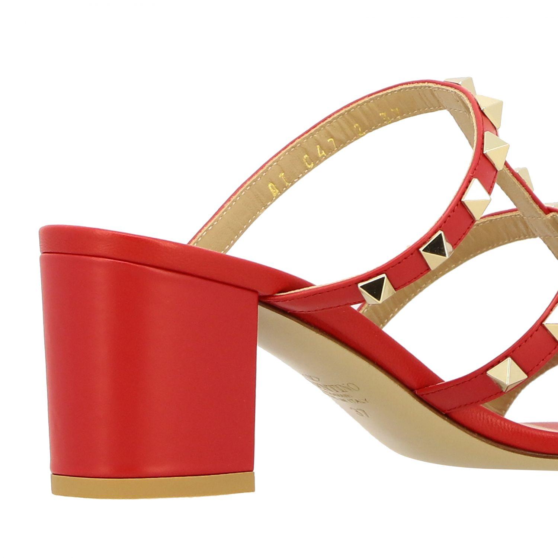 Sandalo Rockstud Valentino Garavani in pelle rosso 5