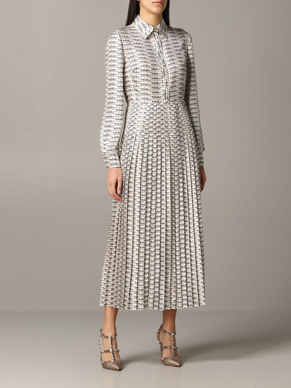 Платье шелковое Женское Valentino слоновая кость 1