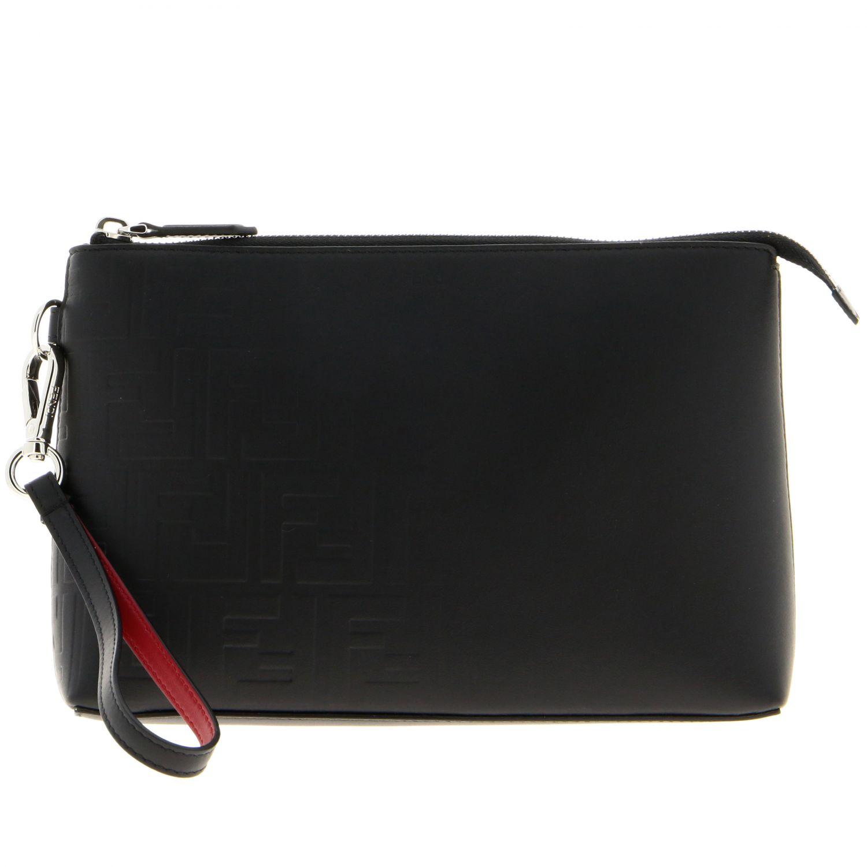Pochette Fendi in pelle liscia con monogramma FF embossed all over nero 1