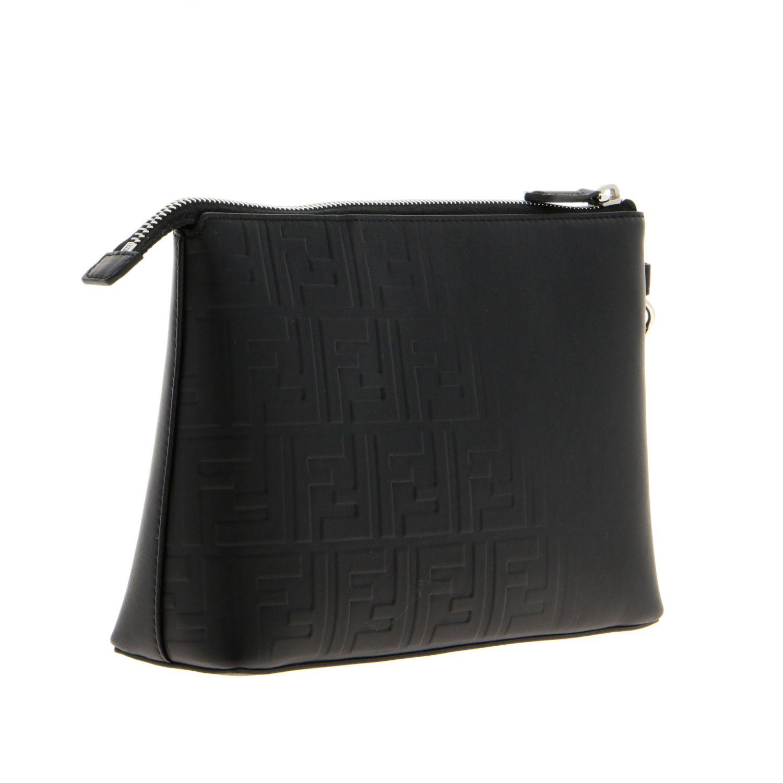 Pochette Fendi in pelle liscia con monogramma FF embossed all over nero 3